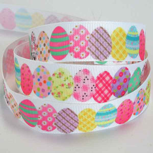 22 mm Patterned Easter Egg Grosgrain Ribbon, 7/8 inch Child's Easter Eggs on White Grosgrain Tape