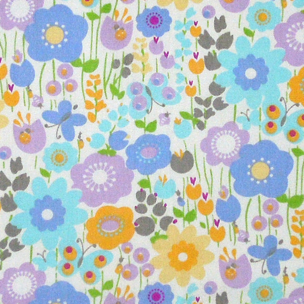 Pastel Flower and Butterfly Cotton Fabric, Blue, Yellow and Lilac Flower and Butterfly Fabric