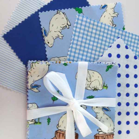 Blue Rabbit Cotton Fabric Pack, Patchwork Fabric Bundle, Rabbit Charm Pack, 30 x 5 inch cotton squares, Blue Patchwork Pack