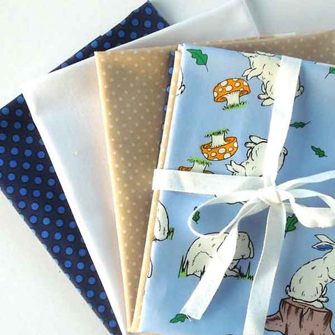Blue Rabbit Fat Quarter Bundle, Blue Rabbit, Plain and Polka Dot Cotton Patchwork Pack