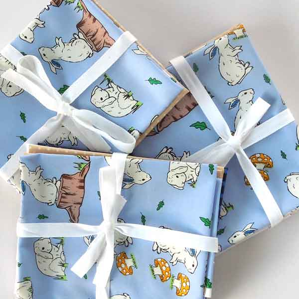 Blue Rabbit Fat Quarter Bundle, Blue Rabbit, Plain and Polka Dot Cotton Patchwork Pack - Fabric and Ribbon