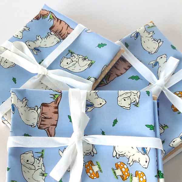 Blue Easter Rabbit Fat Quarter Bundle, Cotton Fat Quarter Pack, 4 Easter Rabbit, Plain and Polka Dot Cotton Patchwork and Craft Pack