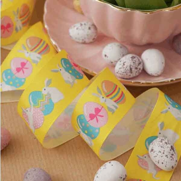 25 mm Easter Bunny Yellow Satin Ribbon, 1 inch Kid's Easter Bunnies and Eggs on Yellow Ribbon