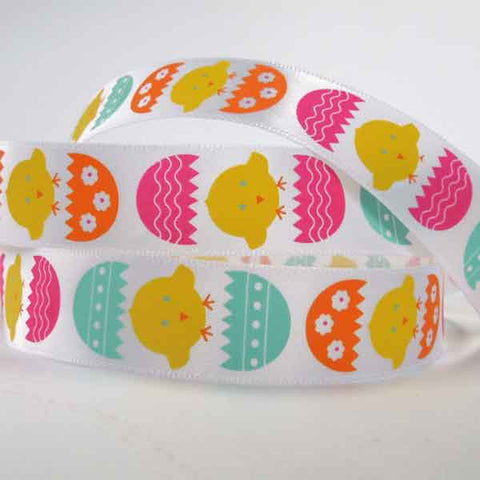 20 mm Kid's Easter Chicks and Easter Egg Satin Ribbon, 3/4 inch White Easter Chicks and Eggs Ribbon - Fabric and Ribbon