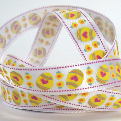 15 mm Easter Egg Satin Ribbon, 5/8 inch Child's Yellow Easter Eggs on White Ribbon
