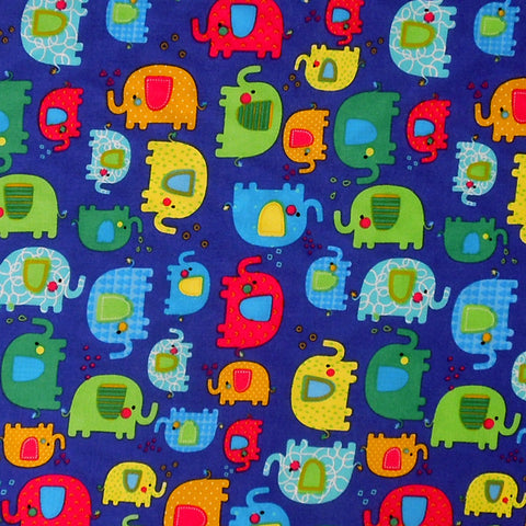 Kid's Blue Elephant Cotton Fabric, Baby Blue Fabric with Coloured Elephants, Nursery Patterned Cotton Fabric