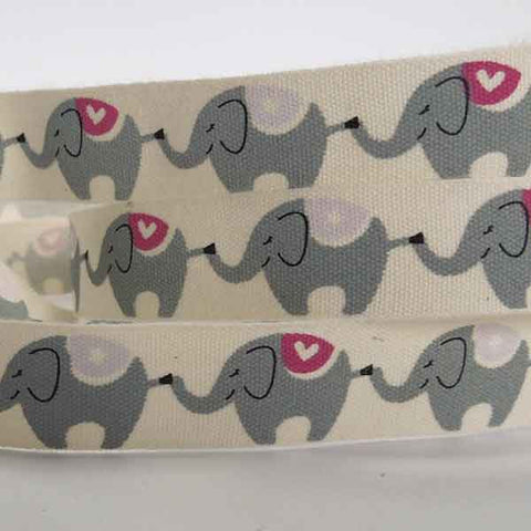 15 mm Baby Pink Elephant Cotton Ribbon, 5/8 inch Girl's Elephant Natural Cotton Tape