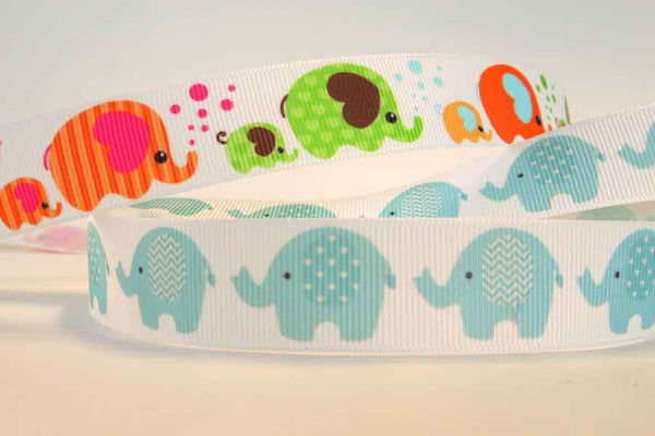 22 mm Kid's Pale Blue Elephant Grosgrain Ribbon, 7/8 inch Blue Elephants on White Grosgrain - Fabric and Ribbon