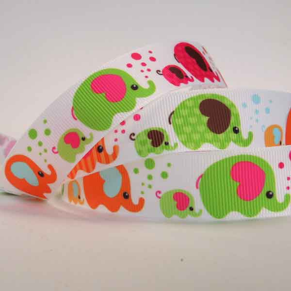 22 mm Kid's Bright Elephant and Bubbles Grosgrain Ribbon, 7/8 inch Elephant Grosgrain