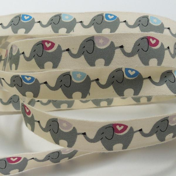 15 mm Blue Elephant Cotton Ribbon, 5/8 inch Child's Elephant Cotton Tape