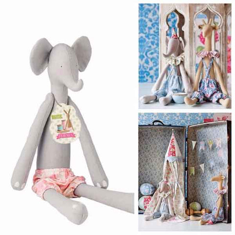 Tilda Elephant Toy Kit, Tilda Harvest Friends Ready Made Soft Elephant Body, Fabric Rag Doll Gift - Fabric and Ribbon