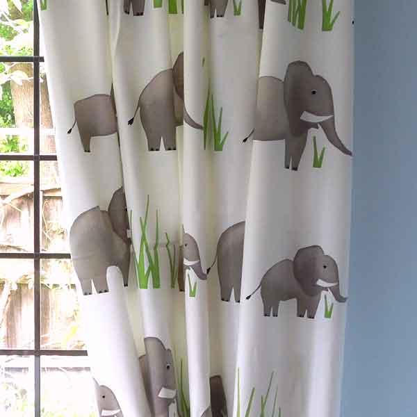 Jumbo Elephants Cotton Furnishing Fabric by Prestigious Textiles, part of their Playtime collection - Fabric and Ribbon