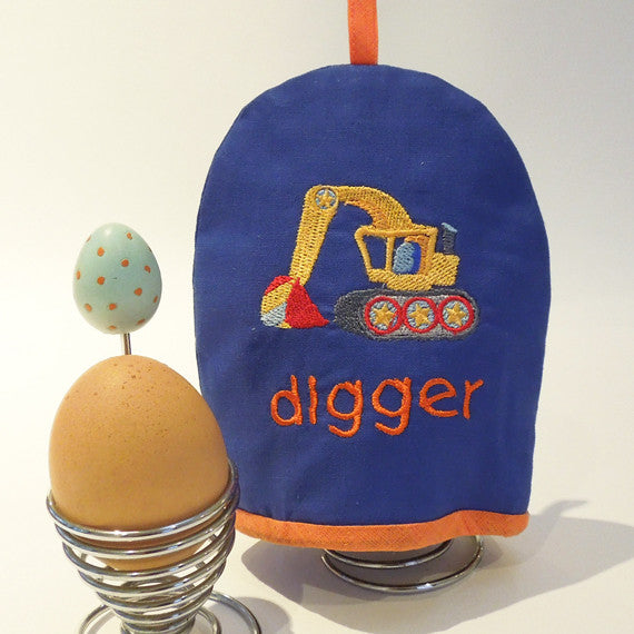 Embroidered Digger Egg Cosy