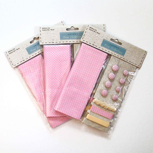 Pink Polka Dot Cotton Fabric Craft Pack - Fabric and Ribbon