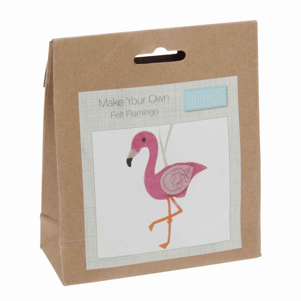 Felt Flamingo Kit, Make Your Own Pink Flamingo, GCK035 - Fabric and Ribbon