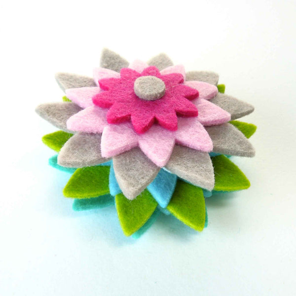 Large Felt Flowers, Blue, Green and Pink Flower Shapes, Stick-On or Sew-On Floral Craft Embellishments, Felt Flower Embellishments