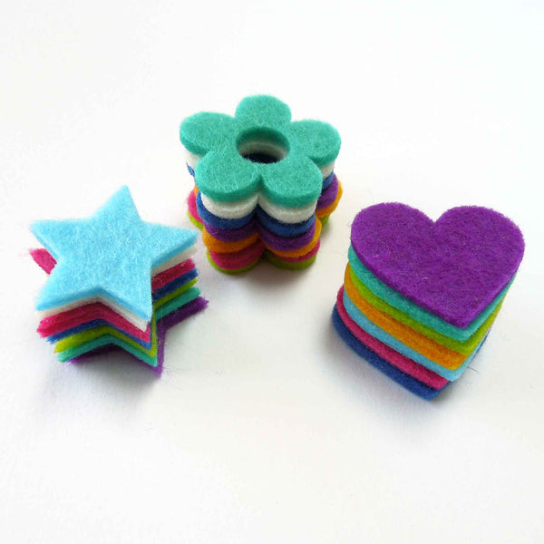 Felt Hearts, Flowers and Stars Pack, Coloured Felt Shapes, Stick-On or Sew-On Floral, Heart and Star Craft Embellishments
