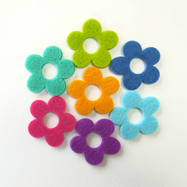 Felt Daisy Flowers Pack, Coloured Felt Shapes, Stick-On or Sew-On Floral Craft Embellishments - Fabric and Ribbon