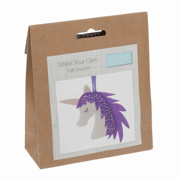 Felt Unicorn Kit, Make Your Own Purple Unicorn, GCK036 - Fabric and Ribbon