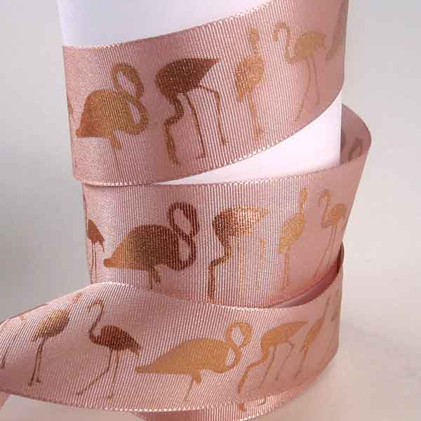 Pink ribbon with flamingo design