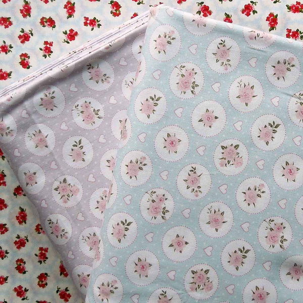 Green Rose and Hearts Cotton Fabric by John Louden