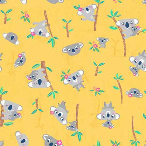 Koalas on Yellow Cotton Fabric by Makower 1629 from their Flo's Friends Collection