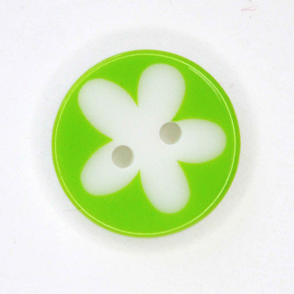 17 mm Light Green Flower Buttons, Pack of 10 Green and White Daisy 2 Hole Buttons