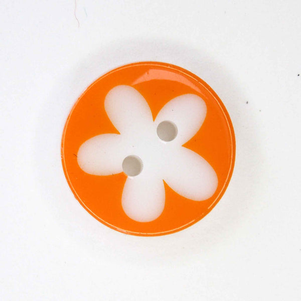 17 mm Orange Flower Buttons, Pack of 10 Orange and White Daisy 2 Hole Buttons