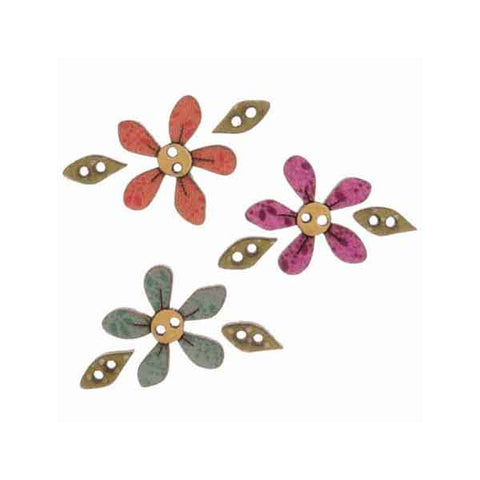 23 mm Flower and Leaves Buttons, DU4746, Wooden Flower and Leaf Buttons, Pack of 3 Craft Buttons