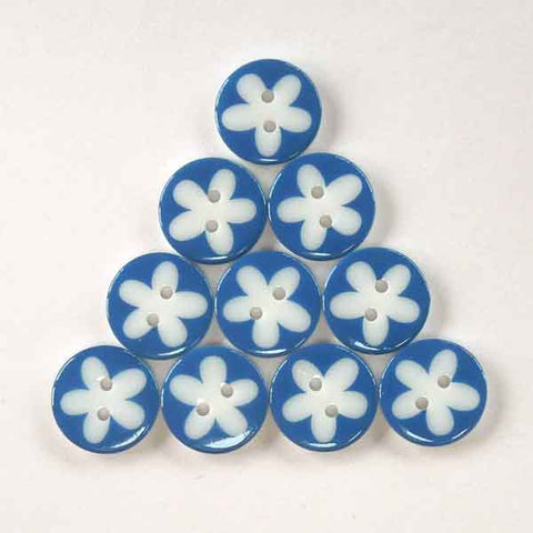 17 mm Dark Blue Flower Buttons, Pack of 10 Dark Blue and White Daisy 2 Hole Buttons