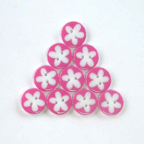 17 mm Pink Flower Buttons, Pack of 10 Fuschia and White Daisy 2 Hole Buttons