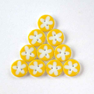 17 mm Yellow Flower Buttons, Pack of 10 Yellow and White Daisy 2 Hole Buttons - Fabric and Ribbon
