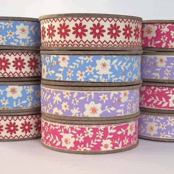 15 mm Flowers on Blue Cotton Ribbon, 5/8 inch Blue and Orange Floral Cotton Tape