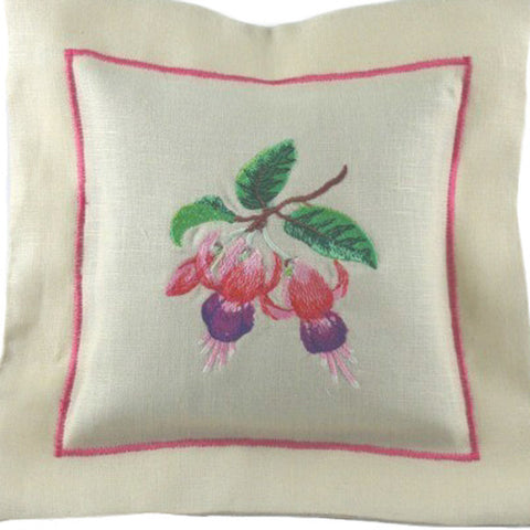 Lilen Lavender Pillow, Linen Flower Pattern Lavender Sachet, Handmade in Pure Linen Fabric