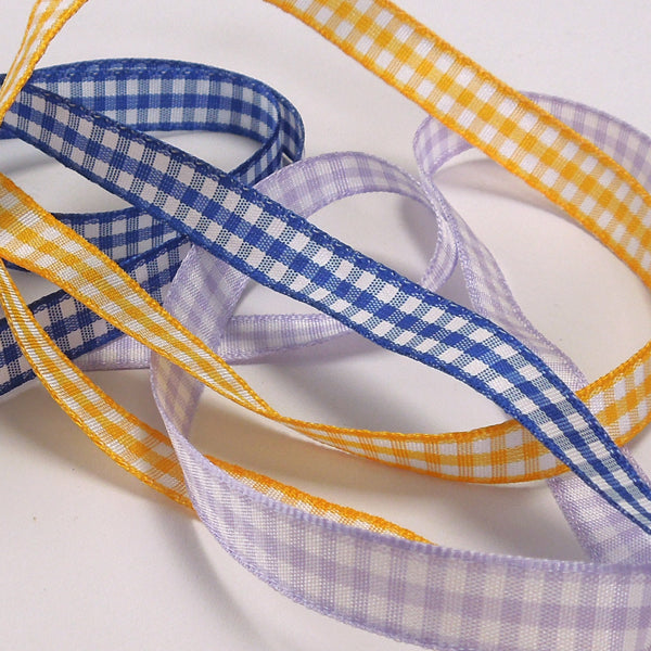 10 mm Lilac Gingham Ribbon, 3/8 inch Orchid and White Checked Ribbon