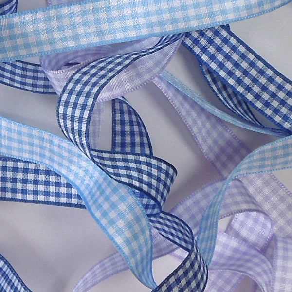 15 mm Royal Blue Gingham Ribbon, 5/8 inch Dark Blue and White Checked Ribbon - Fabric and Ribbon