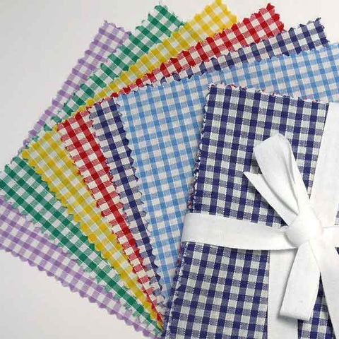 Gingham Patchwork Fabric Bundle, Checked Charm Pack, Coloured Gingham Patchwork Pack - Fabric and Ribbon