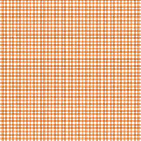 Orange Gingham Cotton Fabric by Makower 920/N64 from their Forest Collection - Fabric and Ribbon