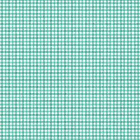 Turquoise Gingham Cotton Fabric by Makower 920/T6 from their Gingham Basics Collection - Fabric and Ribbon
