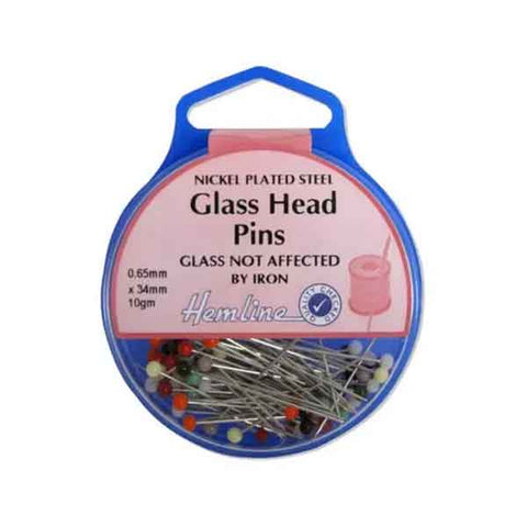 Glass Head Pins by Hemline 679, Nickel Glass Head Pins 34 mm in Plastic Storage Case - Fabric and Ribbon