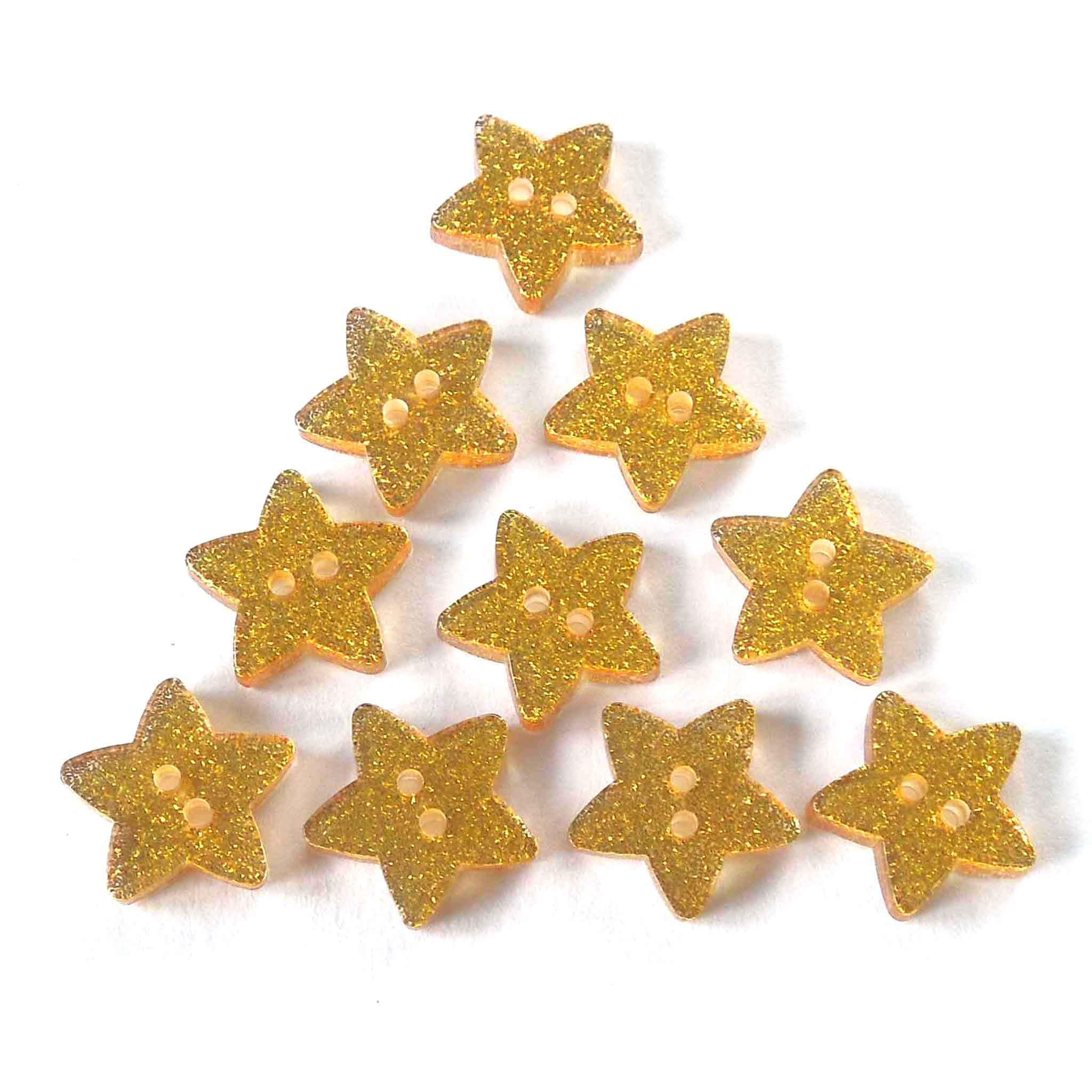 18 mm Gold Glitter Star Buttons, Trimits 2 Hole Buttons, Pack of 10
