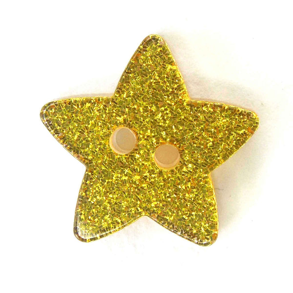 Gold Glitter Star Button 18mm