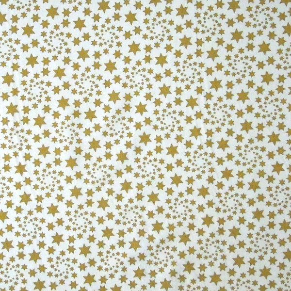 Cream with Gold Stars Cotton Fabric, Gold Stars and Swirls on Cream Pure Cotton Fabric