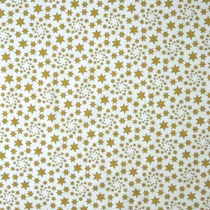 Gold Stars on Cream Cotton Fabric, Gold Stars and Swirls on Cream Fabric - Fabric and Ribbon