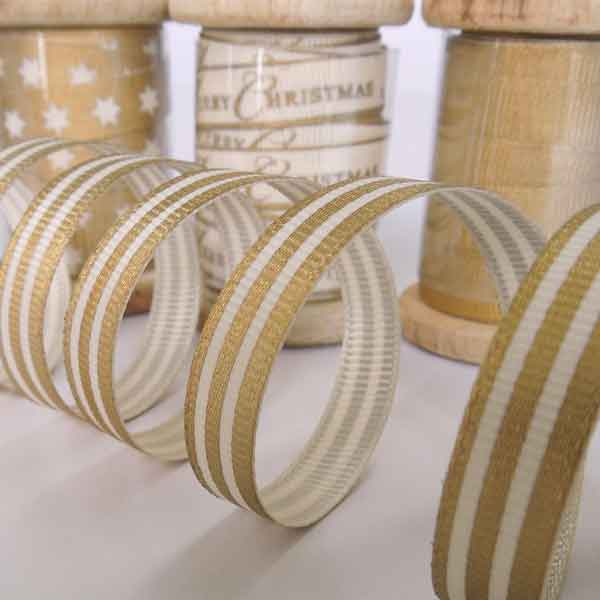 10 mm Gold Striped Ribbon on Wooden Bobbin, 3 Metres Striped Ribbon - Fabric and Ribbon