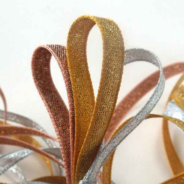 Gold Lame Ribbon, 3 mm, 7 mm, 25 mm width, Metallic Dark Gold Reversible Fabric Ribbon - Fabric and Ribbon
