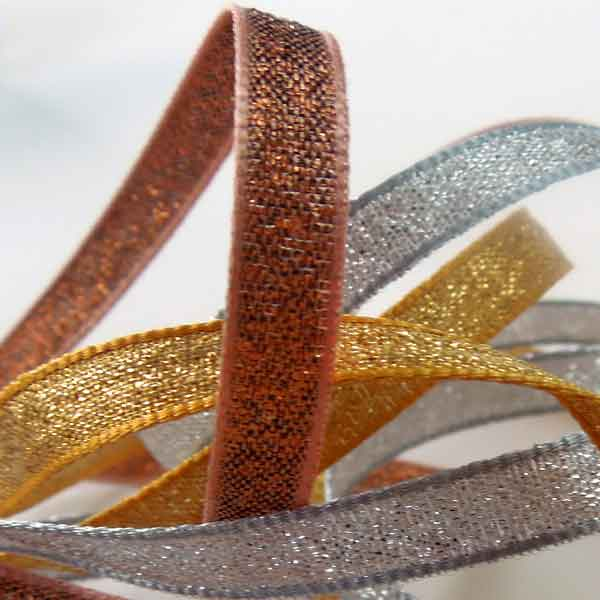 Silver Lame Ribbon, 3 mm, 7 mm, 25 mm width, Metallic Silver Reversible Fabric Ribbon