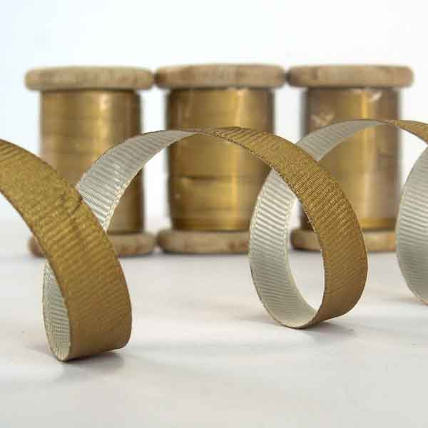 Gold Ribbon on Wooden Spools