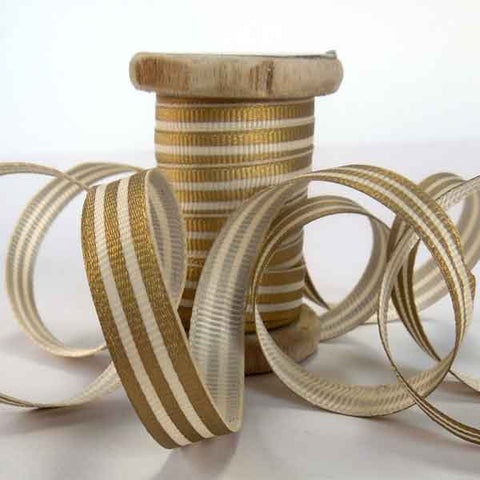 10 mm Christmas Gold Striped Ribbon on Wooden Bobbin, 3 Metres Xmas Striped Ribbon