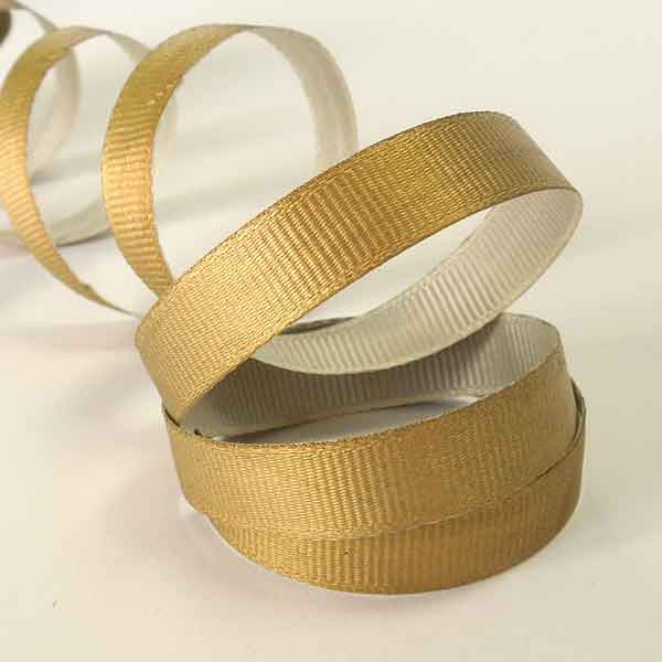 10 mm Christmas Gold Ribbon on a Wooden Spool, 3 Metres of 3/8 inch Xmas Gold Plain Ribbon on Wooden Bobbin